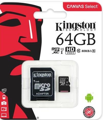 Карта памяти Kingston 64GB microSDXC C10 UHS-I R80MB/s + SD адаптер